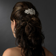 Silver Plated Crystal Floral Bridal Barrette