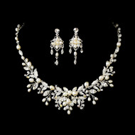 Silver Plated Floral Fantasy Pearl Bridal Jewelry Set