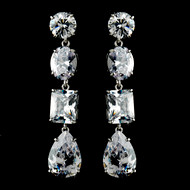 Dazzling Silver Plated Cubic Zirconia Bridal Earrings