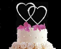 Silver or Gold Plated French Flower Double Heart Cake Topper