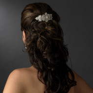 Silver Plated Floral Crystal Bridal or Prom Barrette
