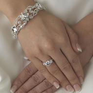 Silver Plated Rhinestone Bridal and Prom Bracelet