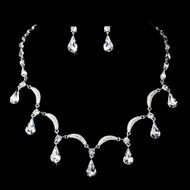 Silver Plated Rhinestone Bridal and Prom Jewelry Set