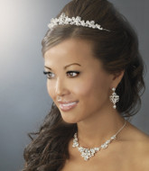 Elegant Silver Plated Wedding Tiara and Bridal Jewelry Set