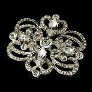 Silver Plated Vintage Look Bridal Brooch