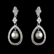 Silver Plated Diamond White Pearl Bridal Earrings