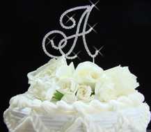 Silver Plated Renaissance Rhinestone Initial  Wedding Cake Toppers