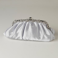 Silver Satin Evening Bag with Floral Rhinestone Trim