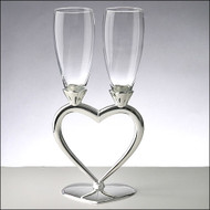 Silver Split Heart Wedding Toasting Glasses