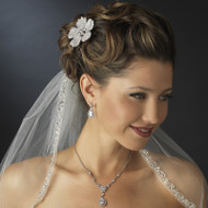 Sparkling Wedding Hair Comb and CZ Jewelry Set