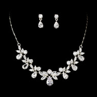 Stunning CZ Crystal Bridal Necklace and Earring Jewelry Set - sale!