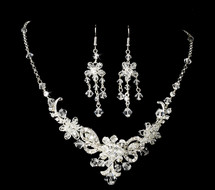 Silver Plated Crystal Wedding Jewelry Set