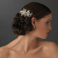 Double Flower Crystal and Rhinestone Bridal Side Comb