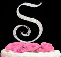 Swarovski Crystal Covered Letter Wedding Cake Toppers