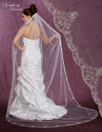 Symphony Bridal 6001VL Beaded Embroidery Cathedral Wedding Veil