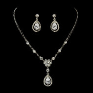 Teardrop CZ Wedding Necklace and Earring Set