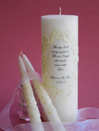 This Day Lace and Crystal Personalized Unity Candle Set