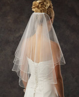 Two Layer Elbow Length Bridal Veil with Rhinestones - Many Colors!
