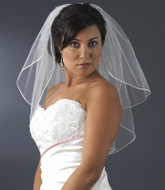 Two Layer Shoulder Length Cord Edge Wedding Veil