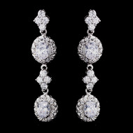 Vintage Inspired CZ Drop Bridal Earrings