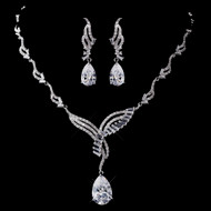 Vintage Inspired CZ Drop Wedding Jewelry Set