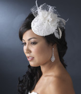 Vintage Inspired Bridal Hat with Feathers and Crystals