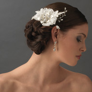 Vintage Inspired Ivory Lace Hair Flower Bridal Comb