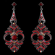 Vintage Inspired Red Rhinestone Chandelier Earrings