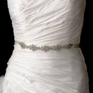 Vintage Inspired Wedding Dress Rhinestone Ribbon Belt