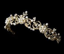 Victorian Lace Gold Freshwater Pearl Bridal Tiara