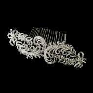 Vintage Look Antique Silver Plated Rhinestone Wedding Comb