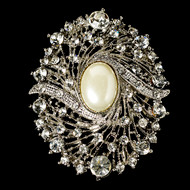 Vintage Look Ivory Pearl and Crystal Bridal Brooch