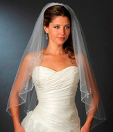 Beautifully Beaded Fingertip Length Bridal Wedding Veil