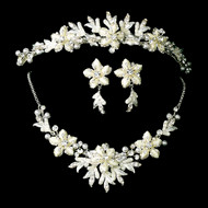 Off White Silver Winter Wonderland Wedding Tiara and Jewelry Set -sale!