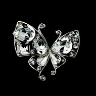Whimsical Butterfly Crystal Wedding Brooch