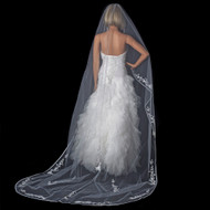White Cathedral Length Wedding Veil with Floral Embroidery