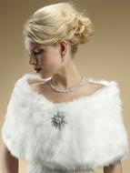 Mariell White Faux Fox Fur Bridal Wedding Wrap