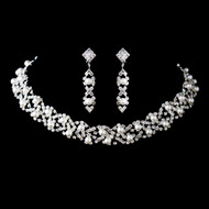 White Pearl and Rhinestone Wedding Jewelry Set