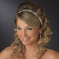 White or Ivory Ribbon Crystal Wedding Headband