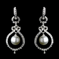White Pearl and Crystal Silver Earrings