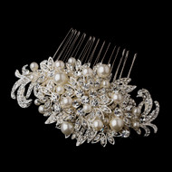 White Pearl and Diamante Rhinestone Wedding Hair Comb
