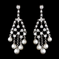 White Pearl and Cubic Zirconia Chandelier Bridal Earrings