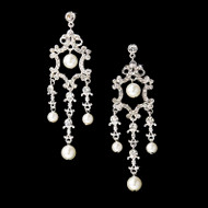 White Pearl Bridal Chandelier Earrings