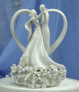 Diamond White Vintage Rose Couple with Heart Wedding Cake Topper