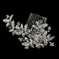 Rhodium Plated Rhinestone Leaf Vine Wedding Hair Comb
