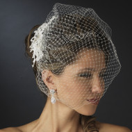 Birdcage Bridal Veil with Lace and Rhinestone Clip