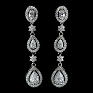 Rhodium Plated CZ Dangle Wedding Earrings