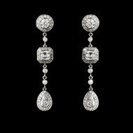 Vintage Inspired CZ Drop Wedding Earrings