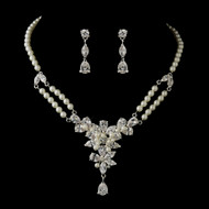 Vintage Inspired Pearl and CZ Wedding Jewelry Set