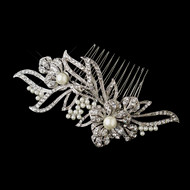 Diamond White Pearl and Rhinestone Floral Wedding Comb